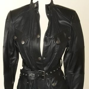 GILI Black Leather Belted Moto Jacket 4